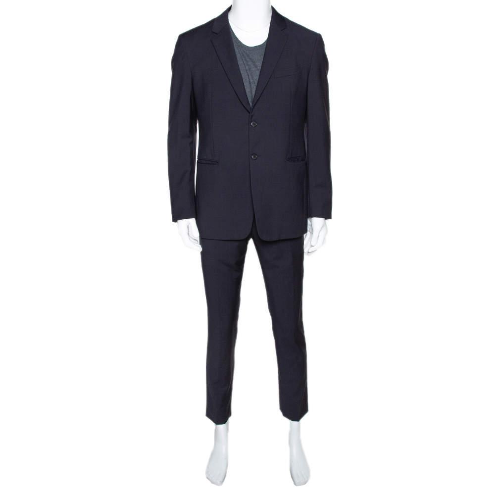 Prada Navy Blue Wool & Mohair Tailored Suit L