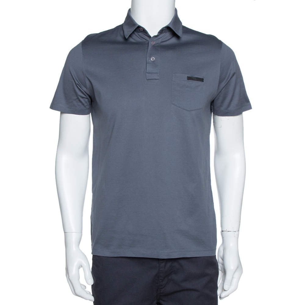 Prada Slate Grey Cotton Pocket Detail Polo T Shirt M