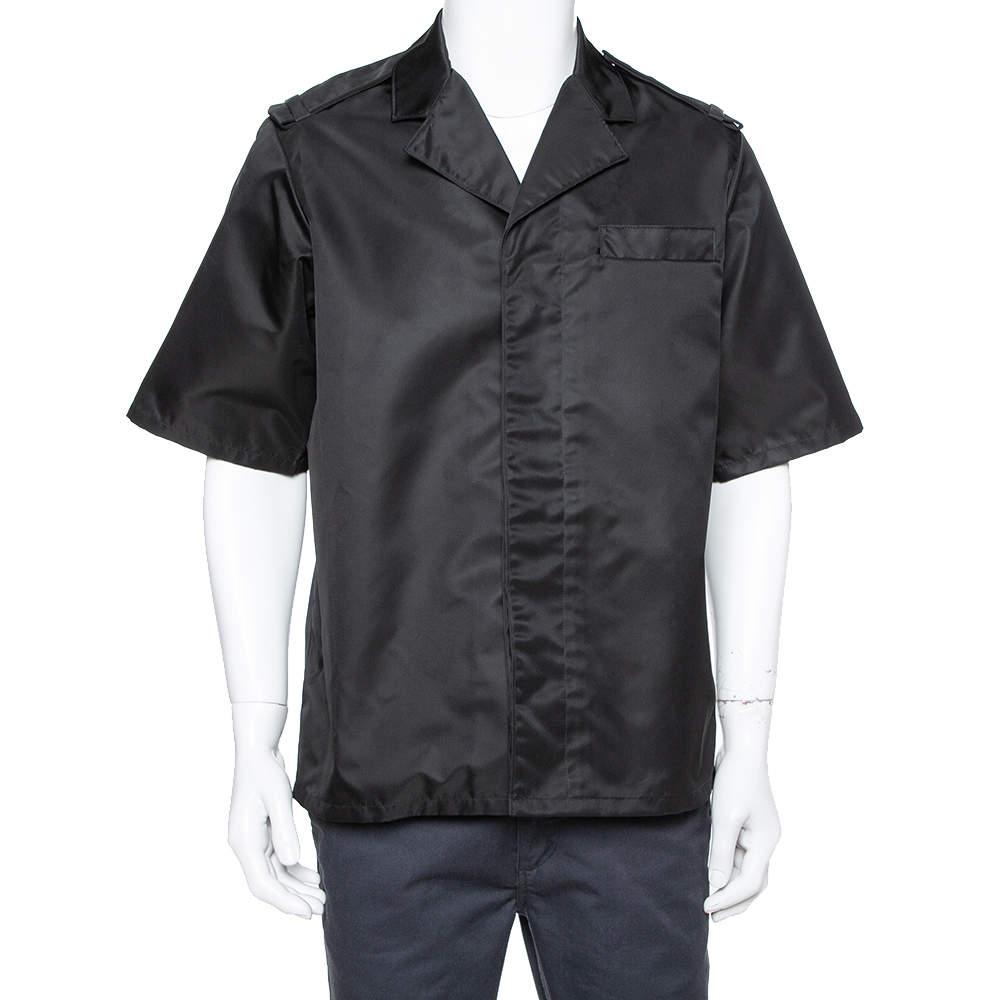Prada Black Synthetic Safari Bowling Shirt XL