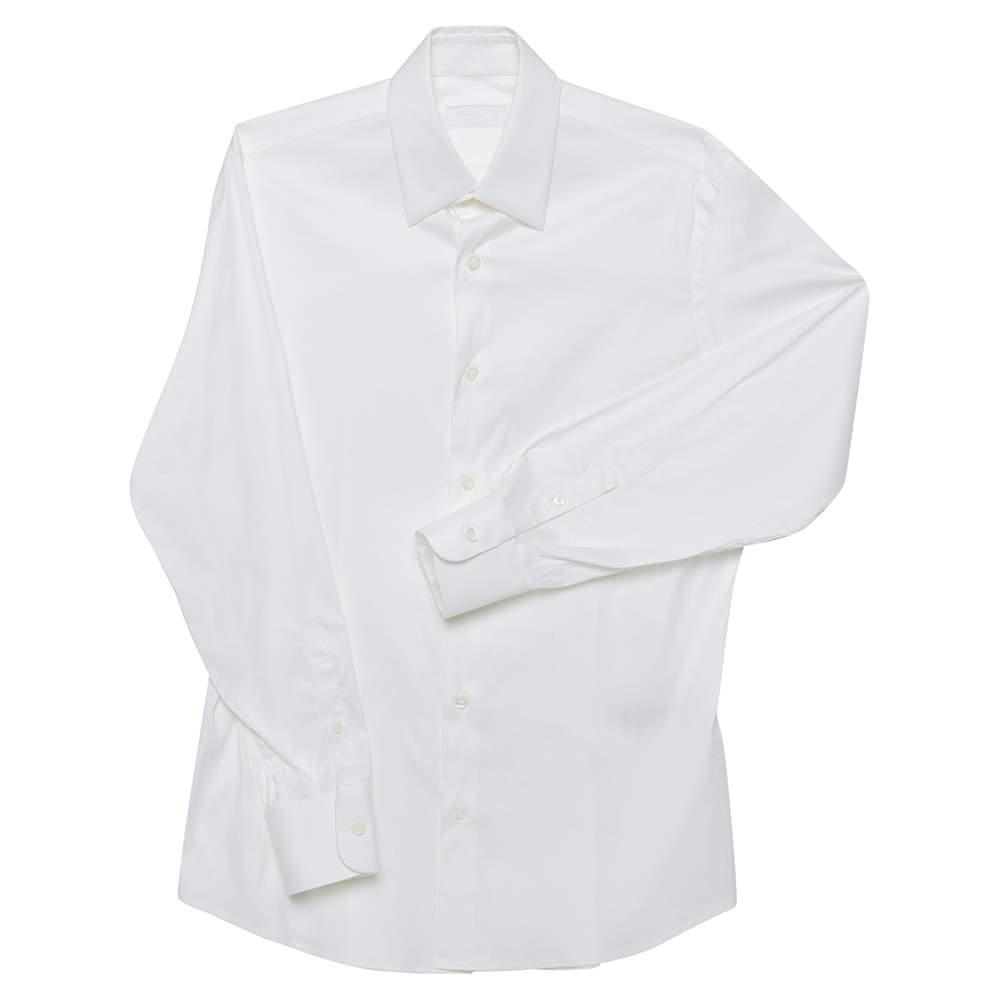 Prada Cream Cotton Button Front Shirt S