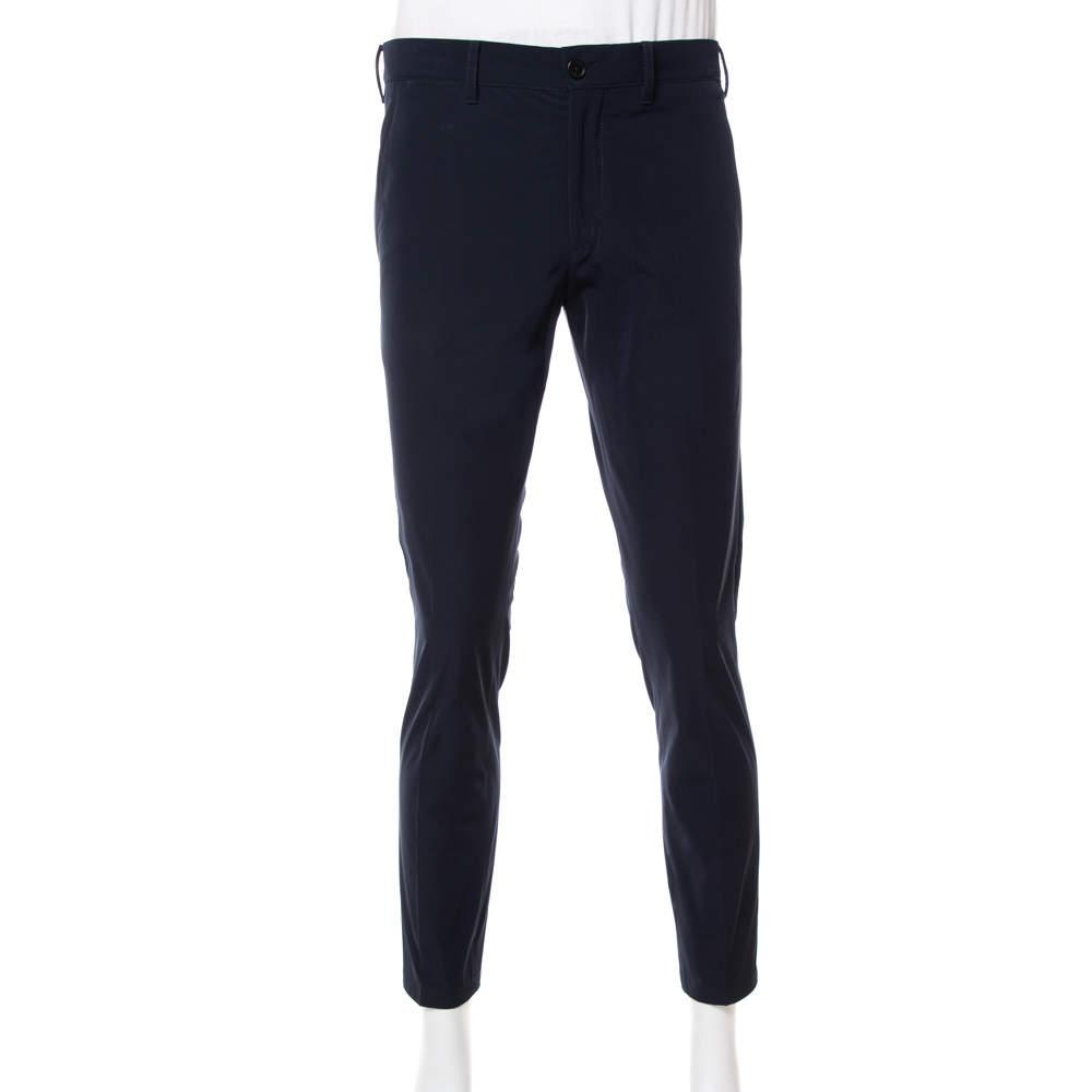 Prada Navy Blue Synthetic Techno Trousers M