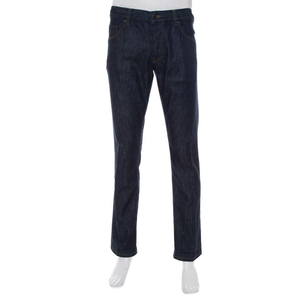بنطلون جينز برادا دينم أزرق كحلي أرجل ضيقة مقاس كبير - لارج