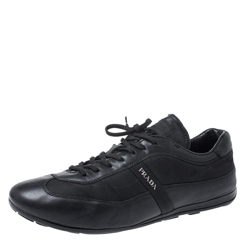 Prada Black Leather and Nylon Trainers Sneakers Size 42