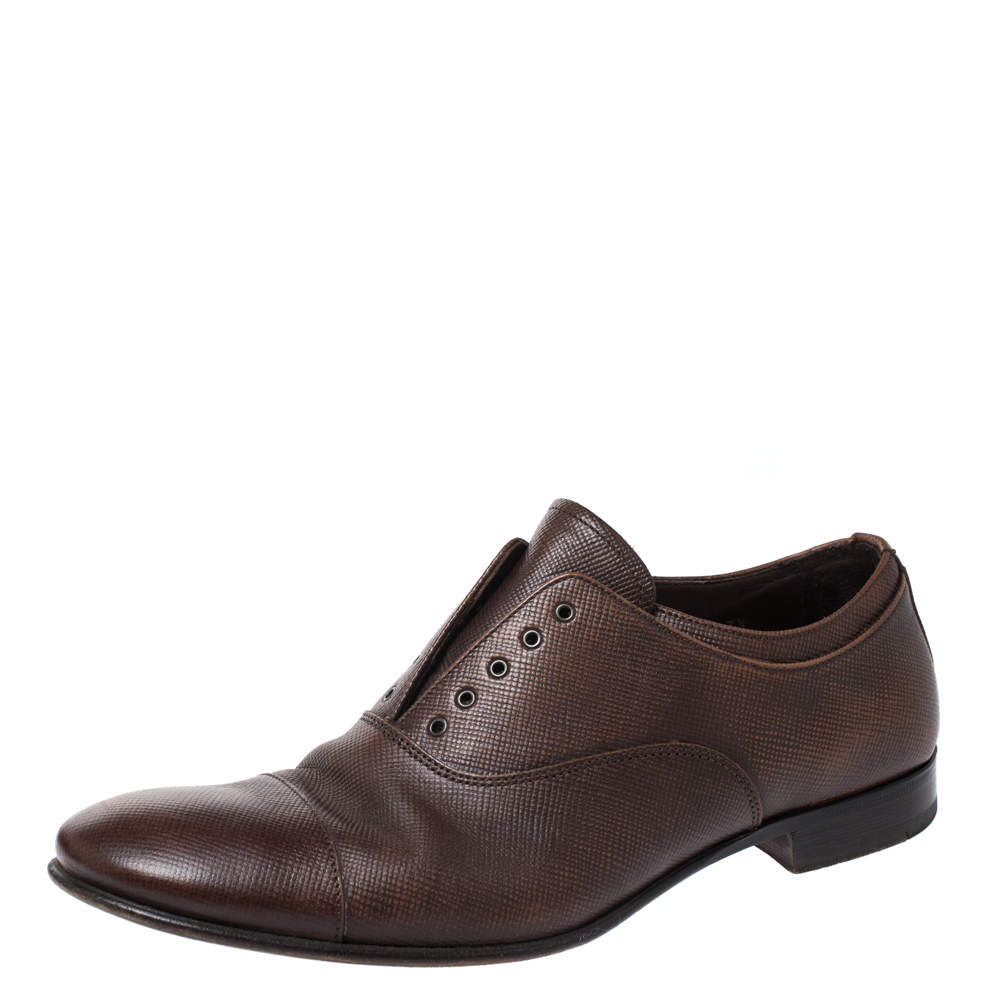 Prada Brown Leather Elastic Slip On Oxfords Size 41.5