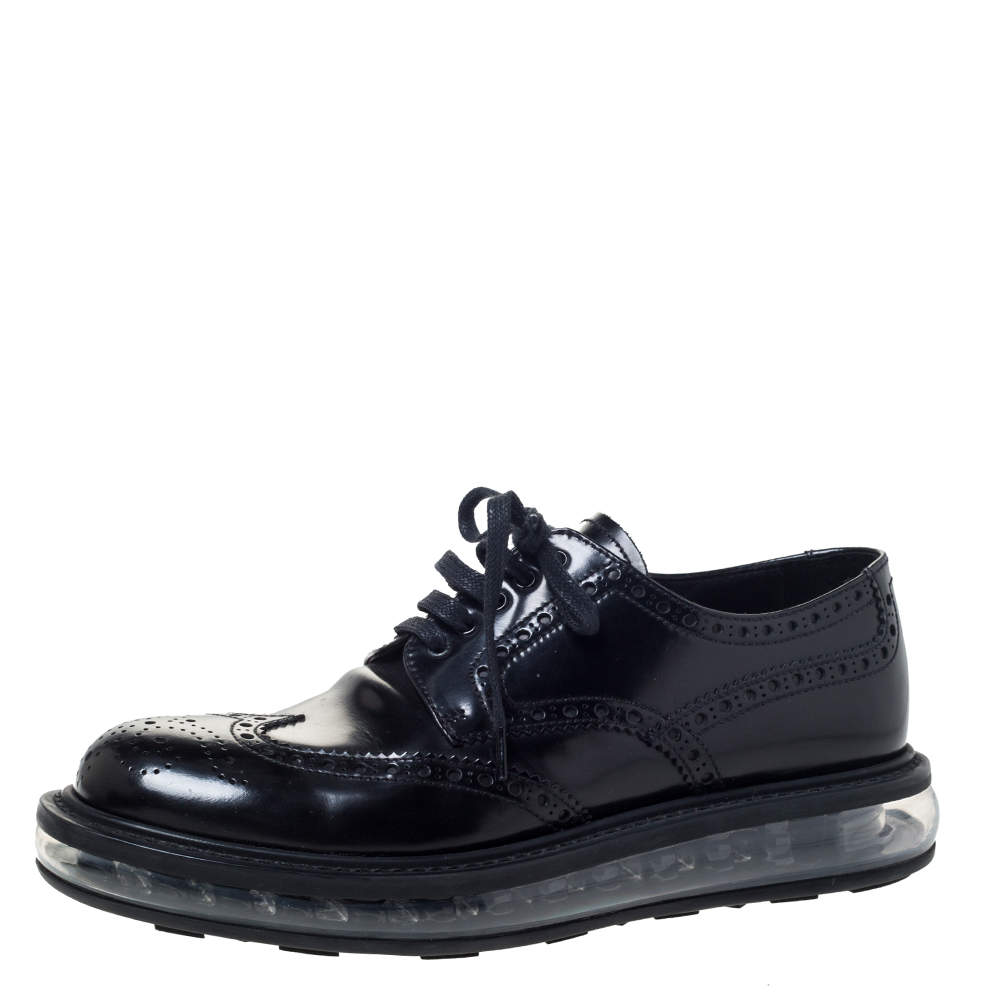 Prada Black Brogue Leather Lace Up Derby Sneakers Size 39.5
