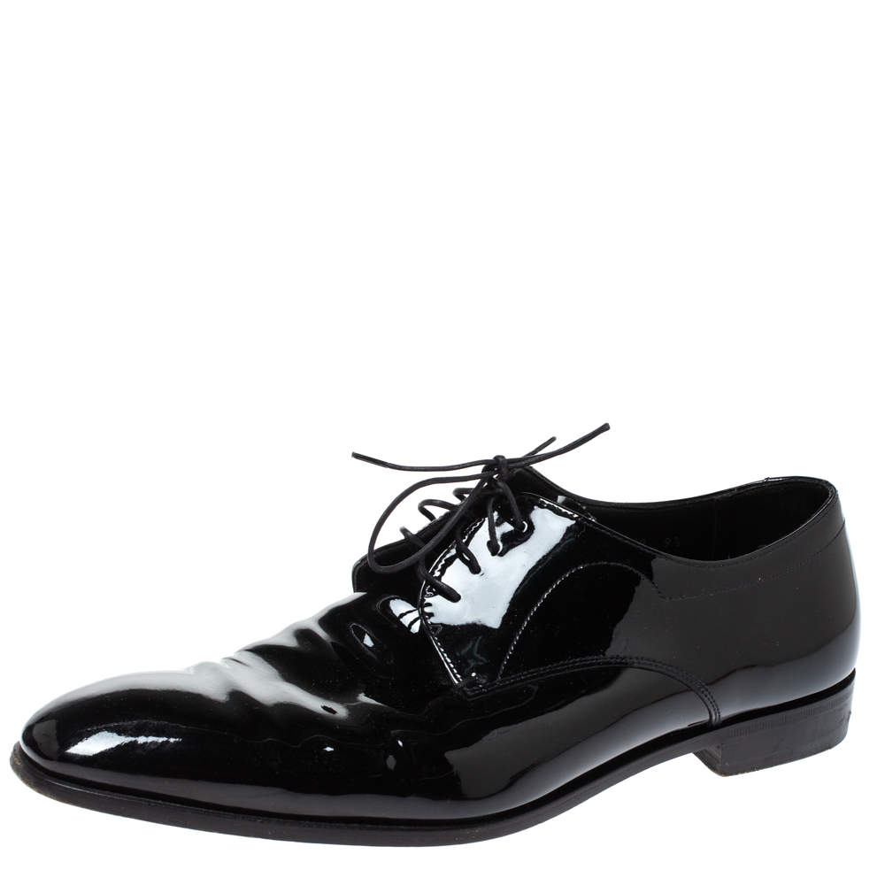Prada Black Patent Leather Lace Up Oxfords Size 43.5