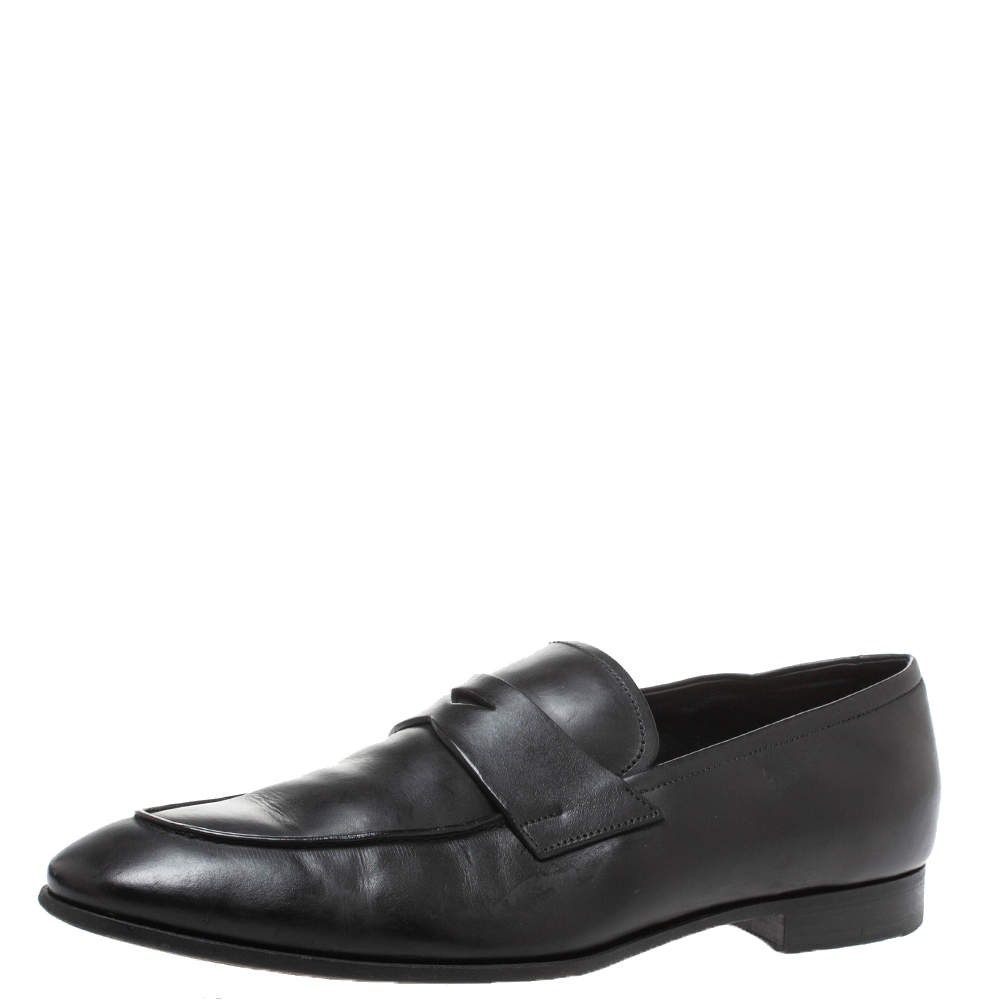 Prada Black Leather Penny Loafers Size 44