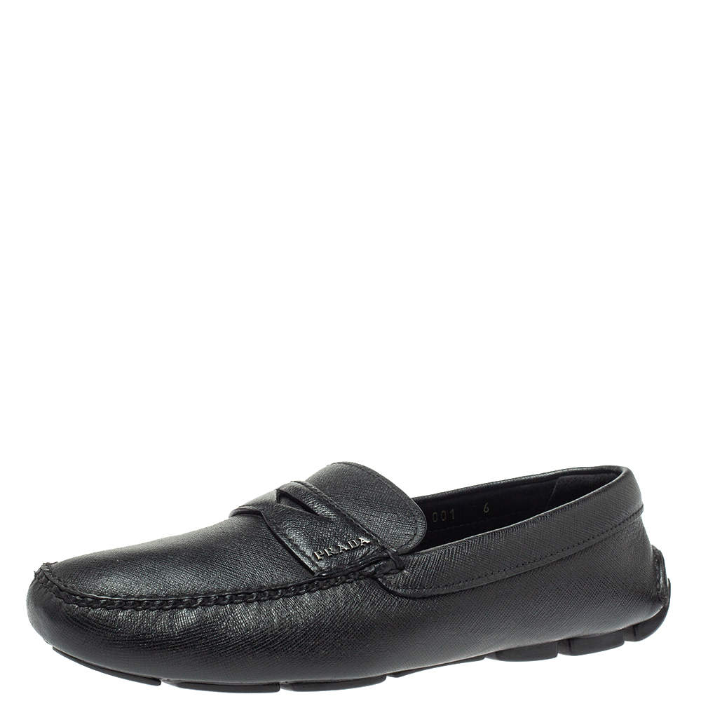 Prada Black Leather Penny Slip On Loafers Size 40