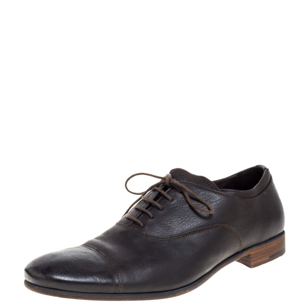 Prada Brown Leather Cap Toe Lace Up Oxford Size 42.5