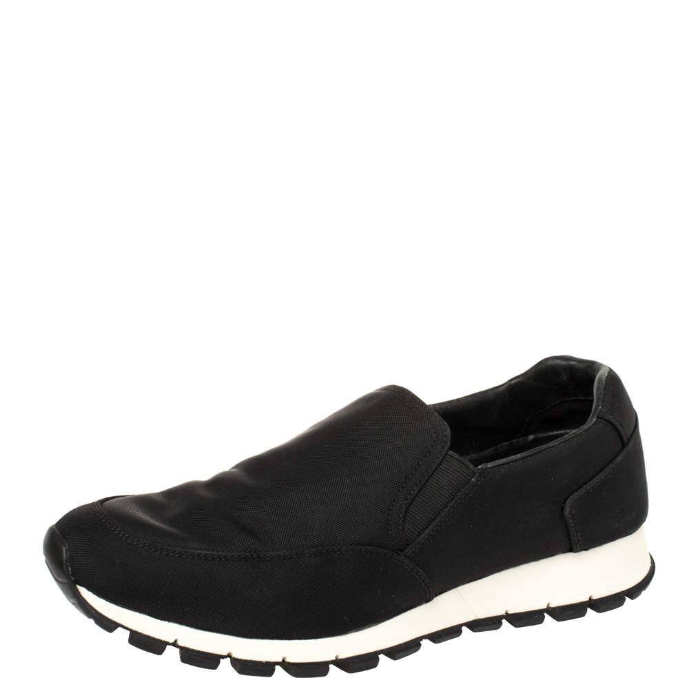 Prada Sport Black Canvas Slip On Sneakers Size 41