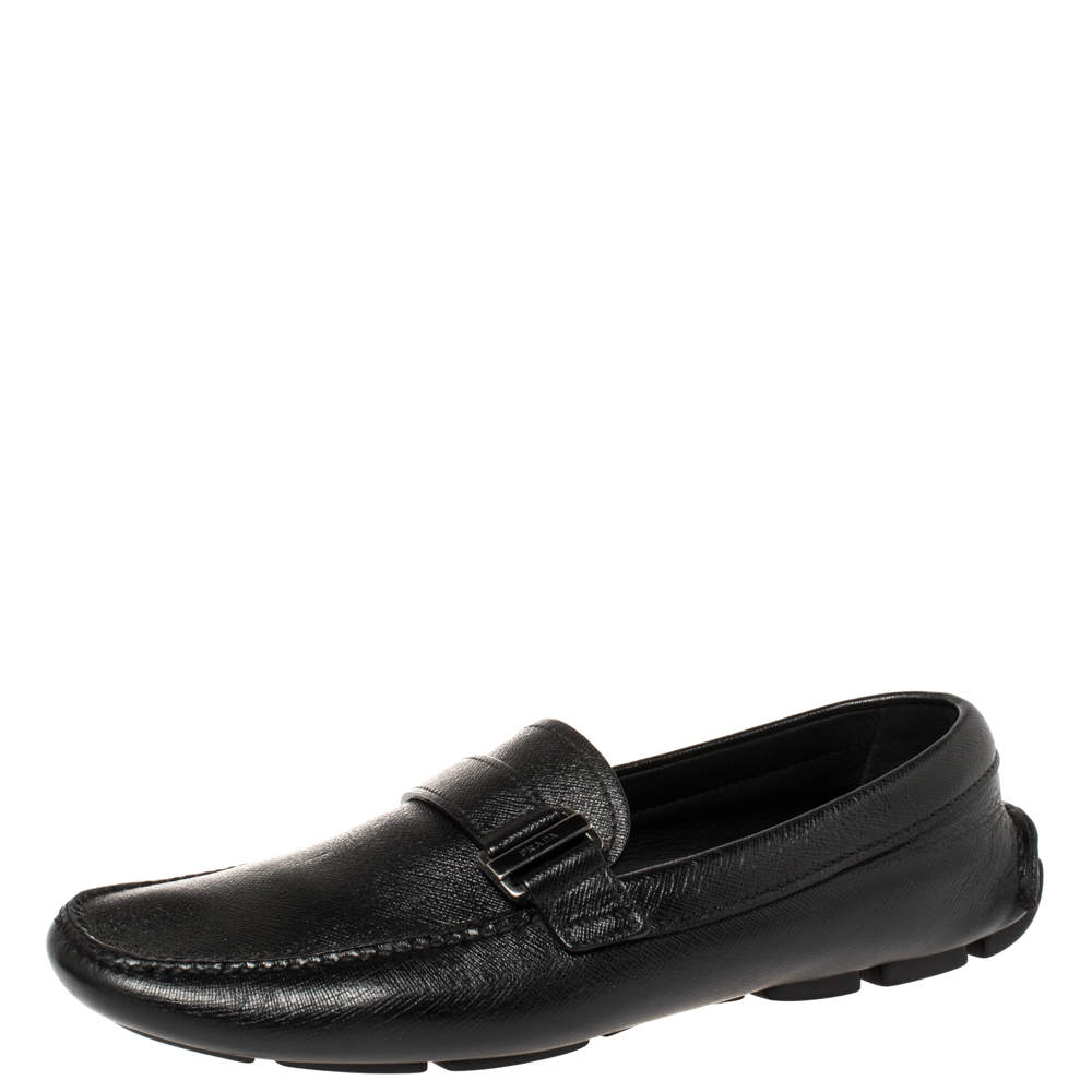 Prada Black Leather Buckle Detail Loafers Size 40