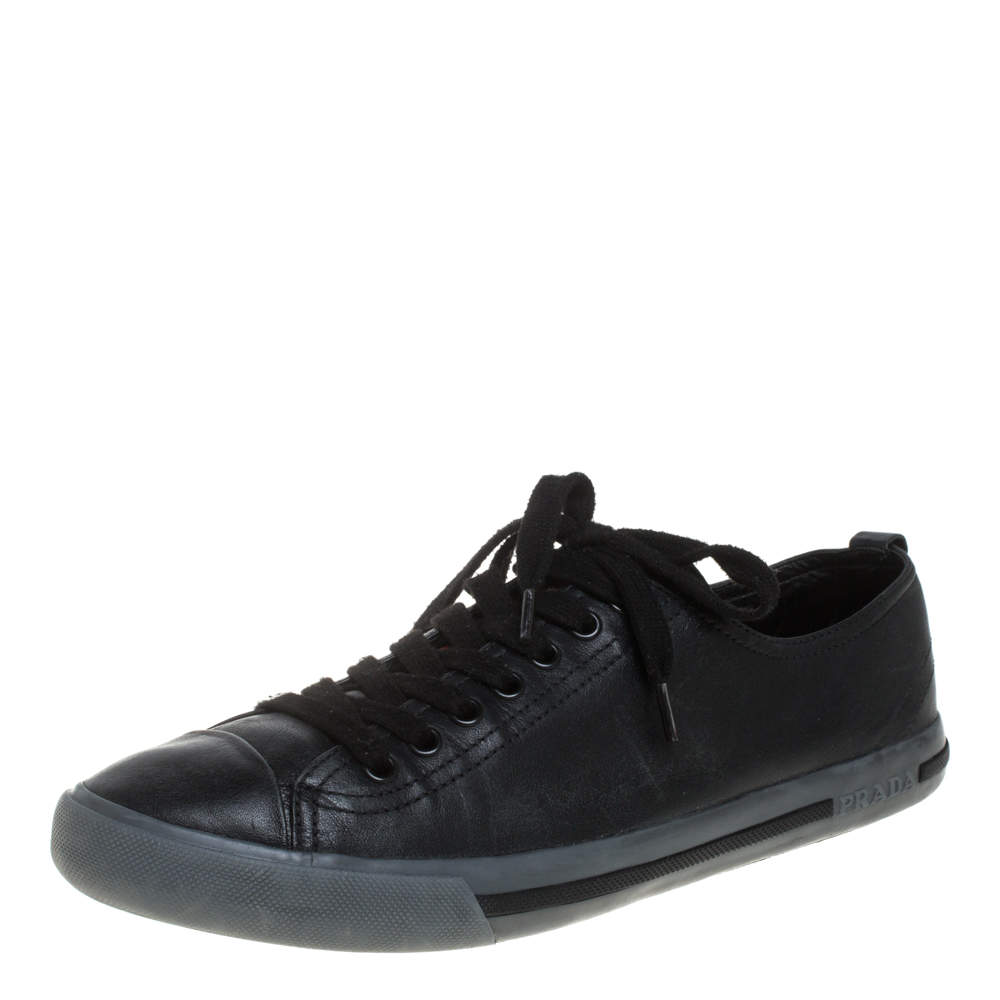 Prada Sports Black Leather Lace Up Sneakers Size 41