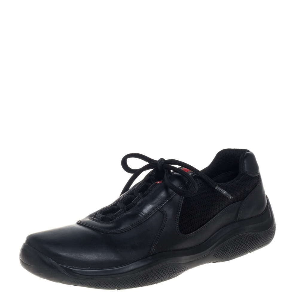 Prada Sport Black Leather And Fabric Low Top Sneakers Size 40