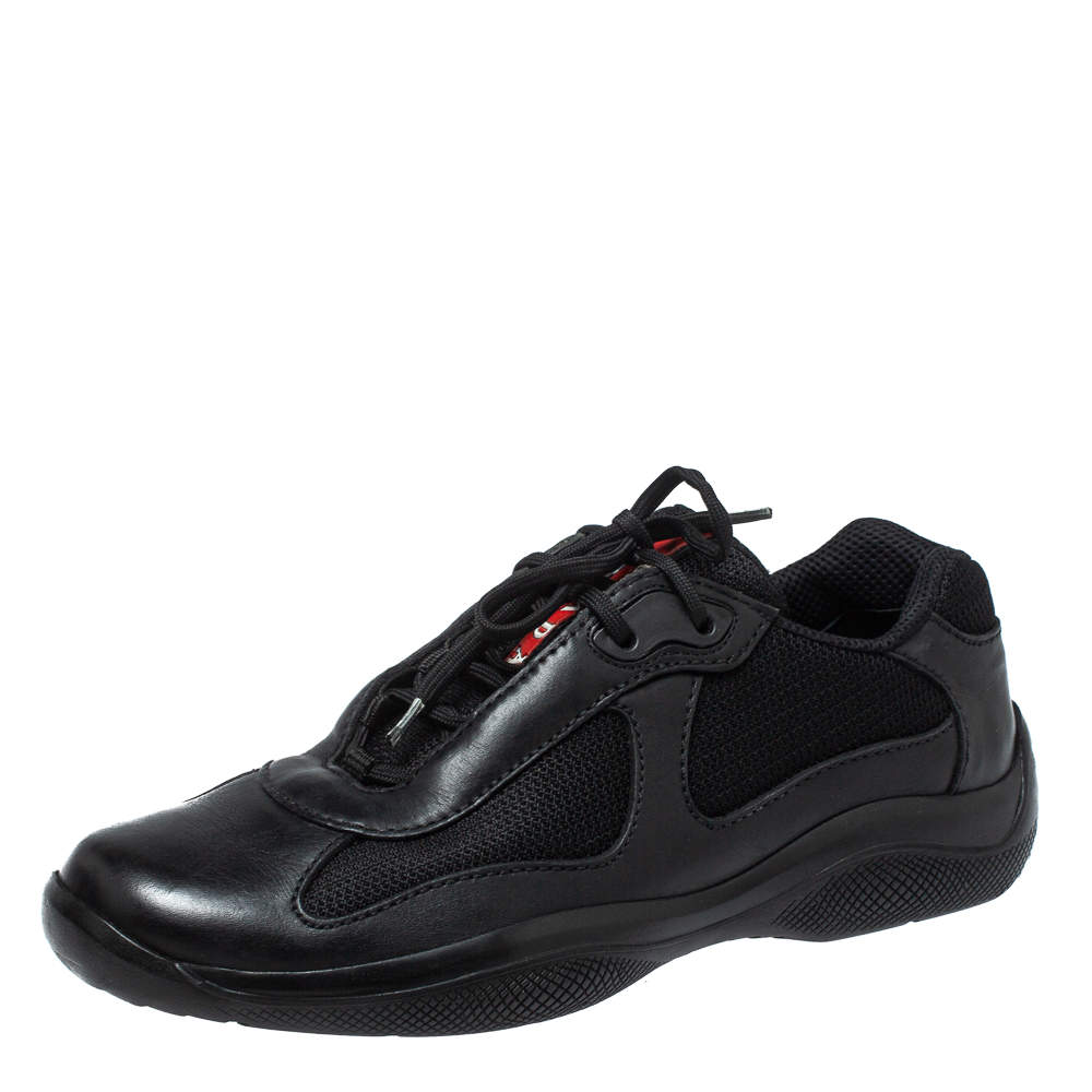 Prada Black Leather And Fabric Low Top Sneakers Size 40.5
