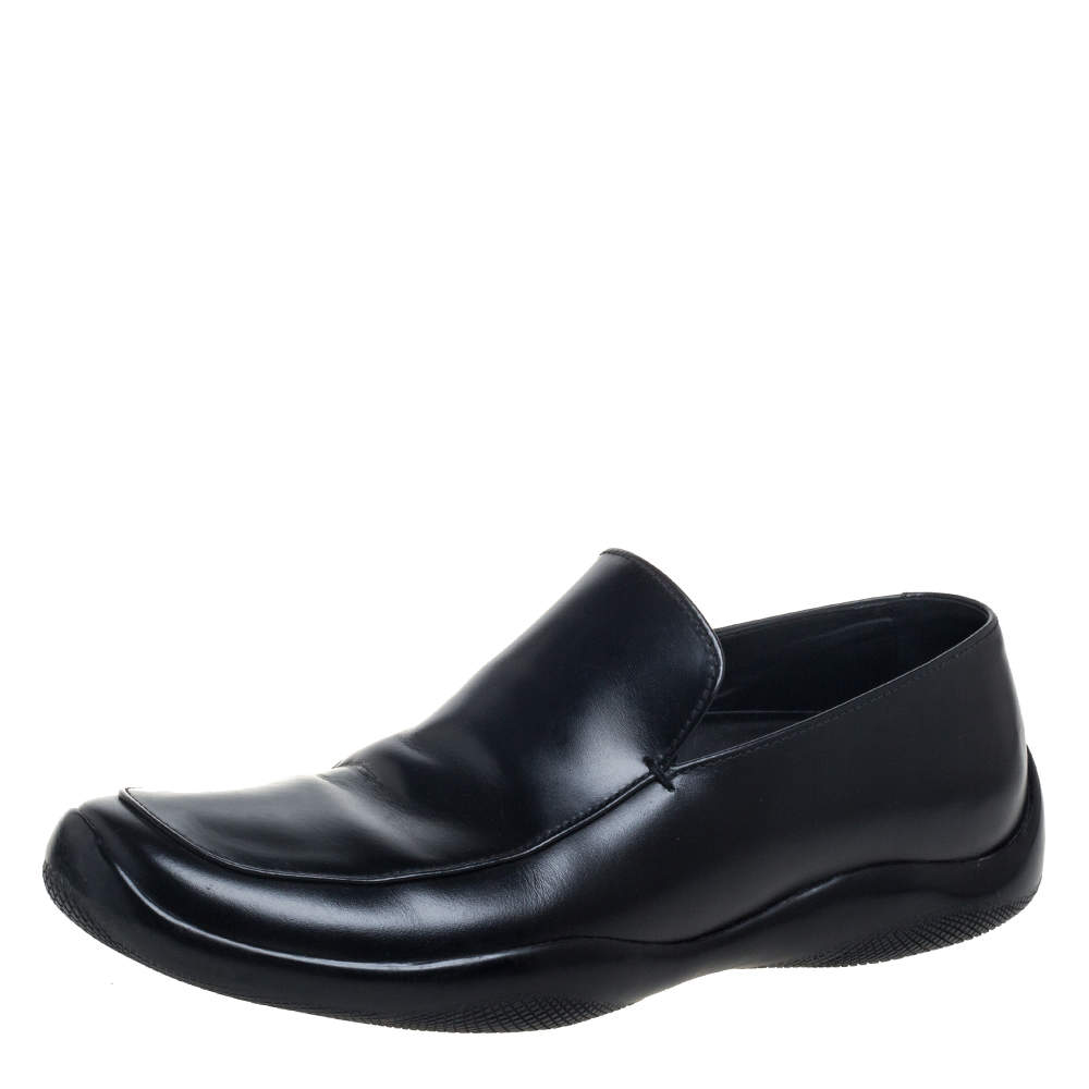 Prada Black Leather  Slip On Loafers Size 42