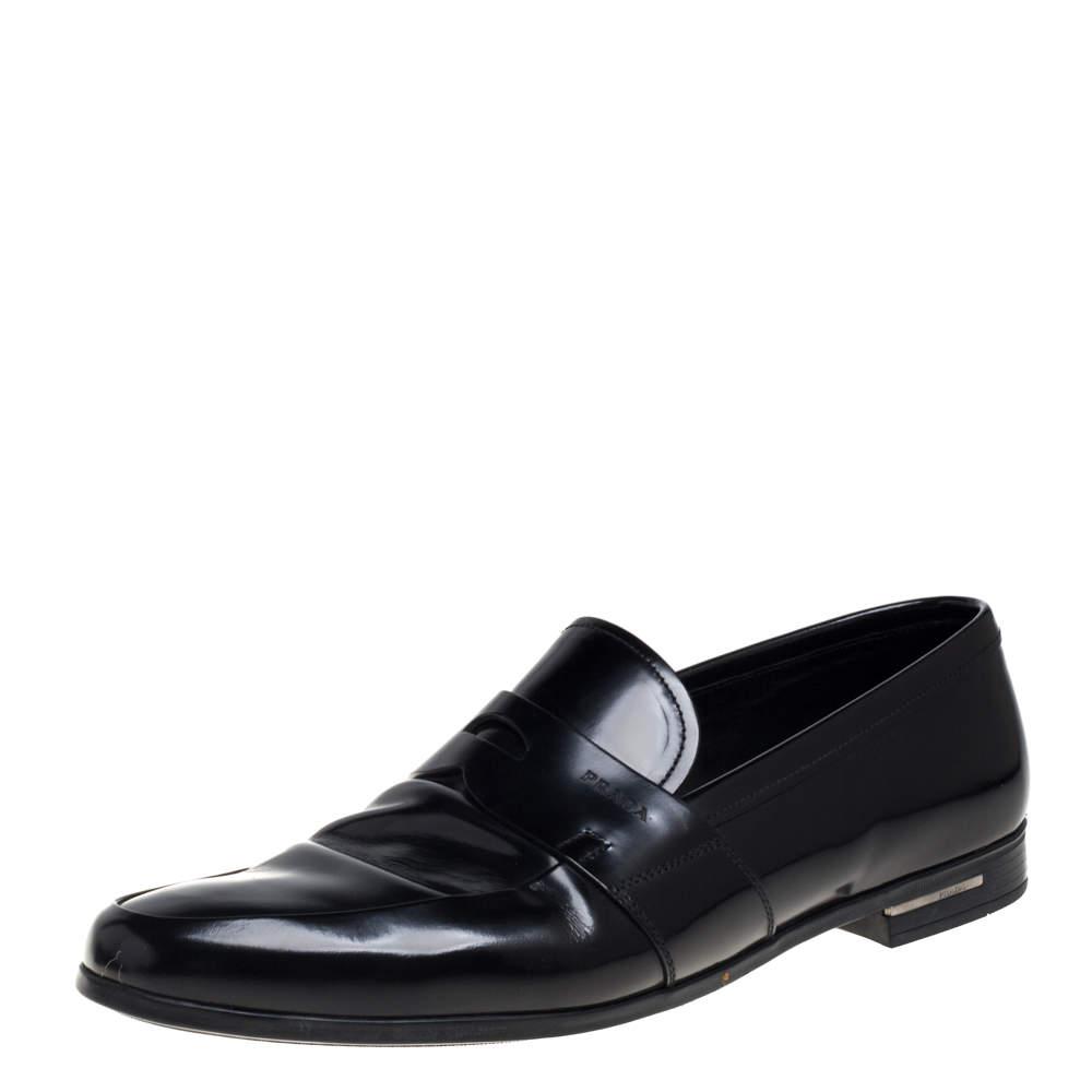 حذاء لوفرز برادا بينى سليب أون برادا جلد أسود مقاس 41.5