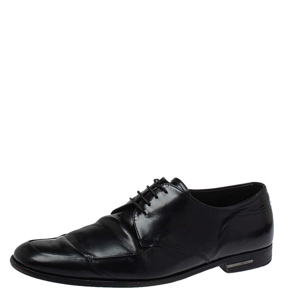 Prada Black Leather Lace Up Derby Size 43