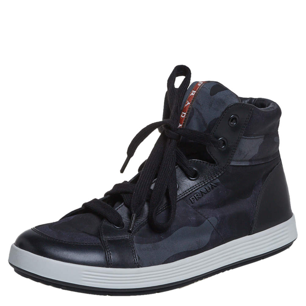Prada Black Camouflage Canvas And Leather High Top Sneakers Size 43