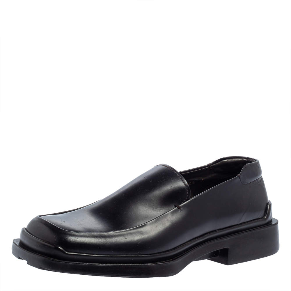 Prada Black Leather Platform Loafers Size 42