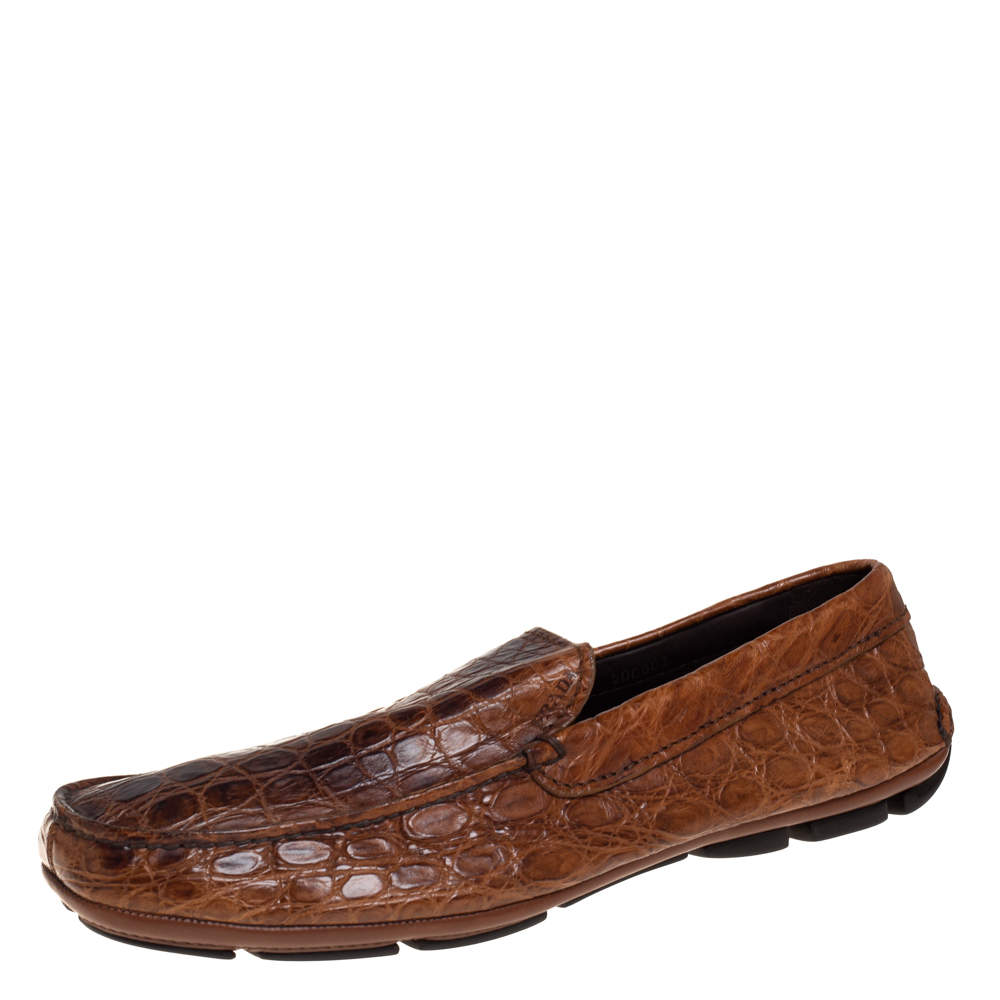 Prada Brown Croc Leather Slip On Loafers Size 42