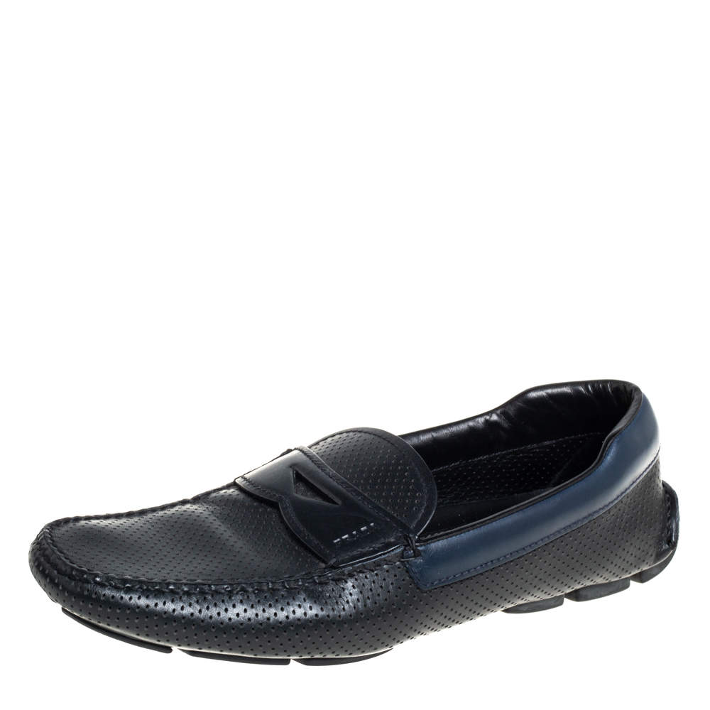 Prada Black/Blue Perforated Leather Penny Slip On Loafers Size 41