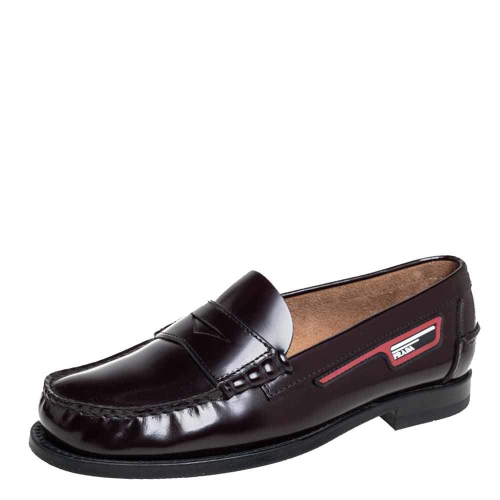Prada Burgundy Leather Penny Slip On Loafers Size 40