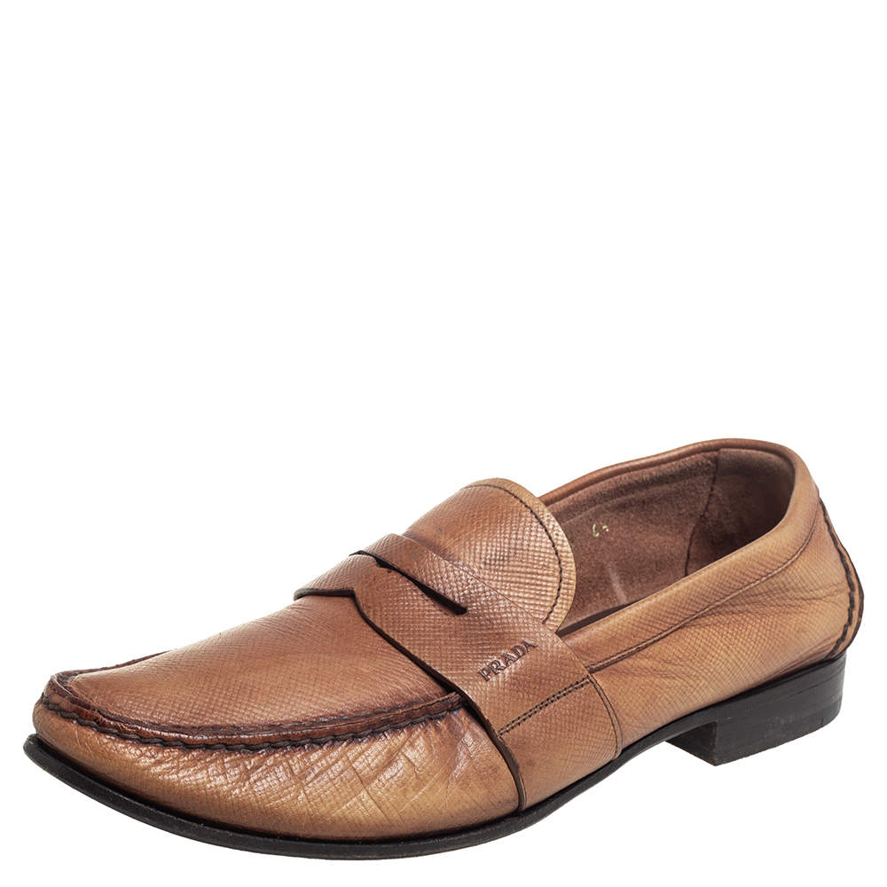 Prada Brown Leather Penny Slip On Loafers Size 40.5