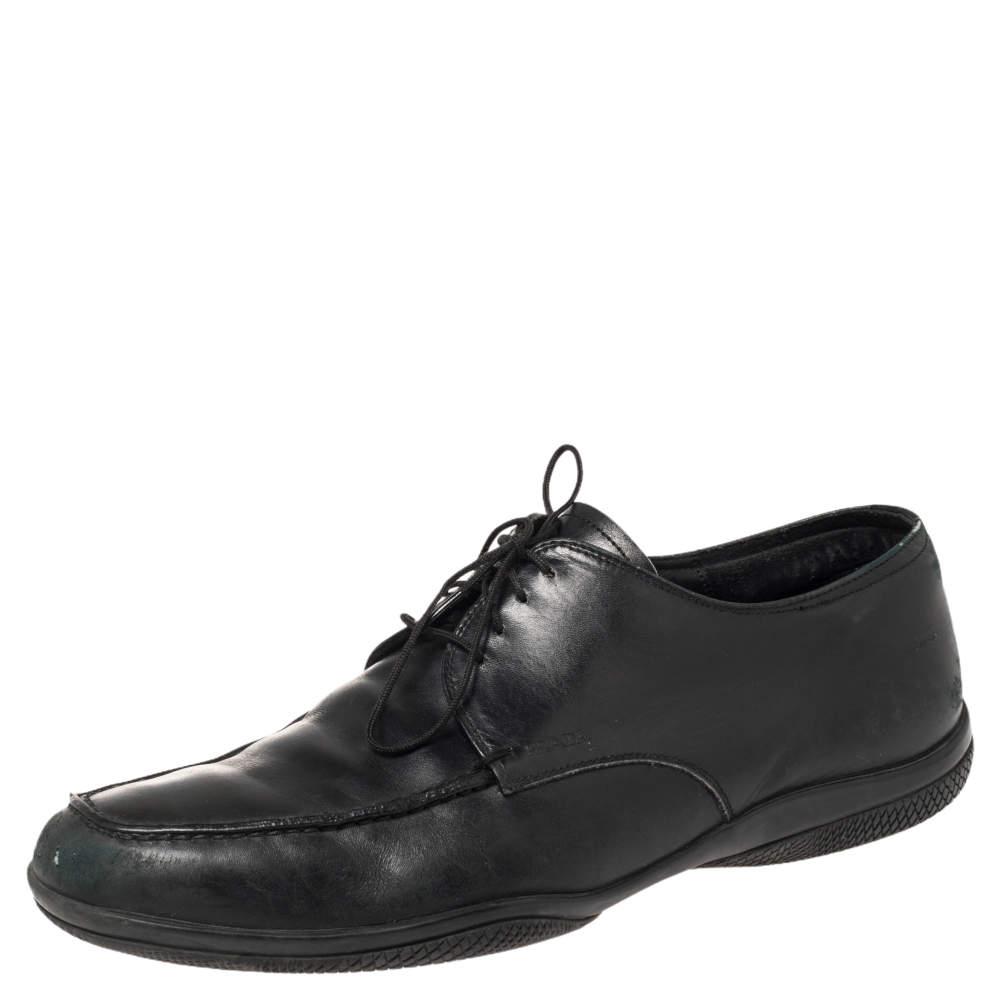 Prada Black Leather Lace Up Derby Size 40.5