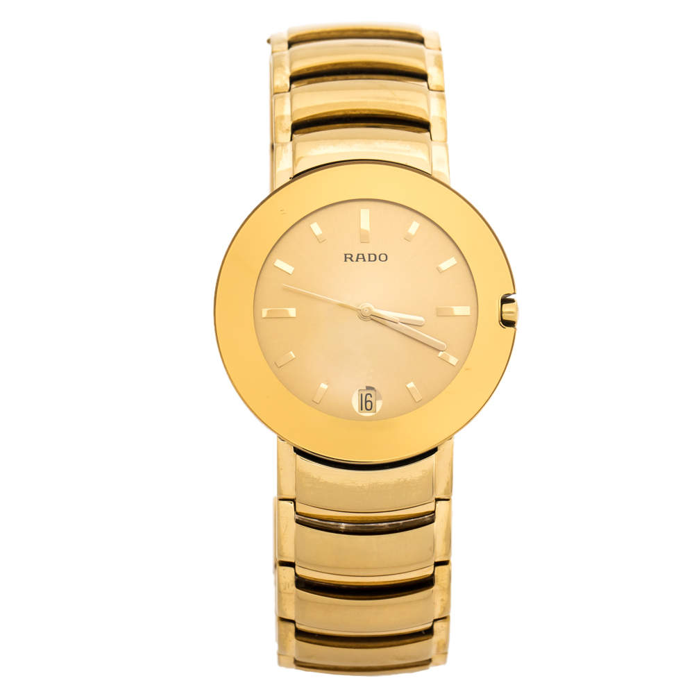 Rado Yellow Gold Plated Stainless Steel Coupole R2262773 Men's Wristwatch 35 mm