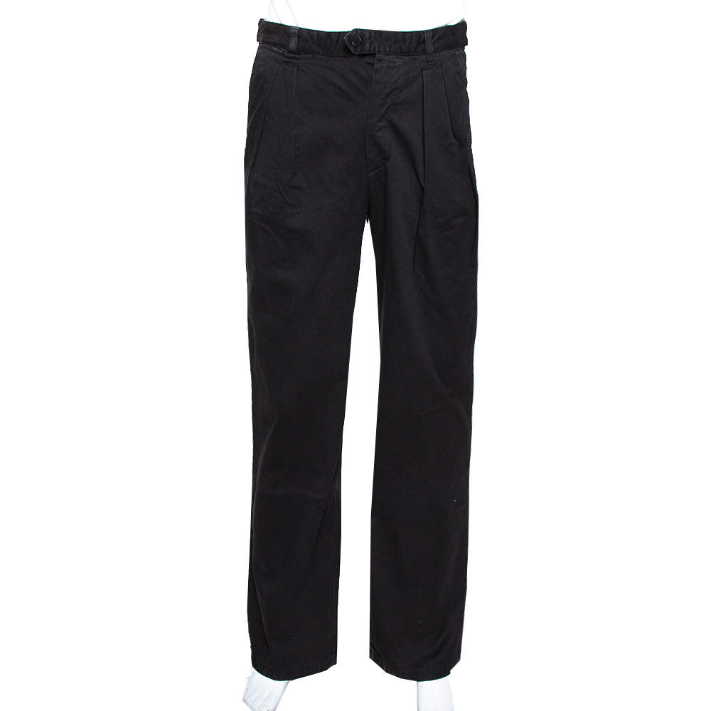 RAF by Raf Simons Black Denim Pleated Wide Leg Trousers S