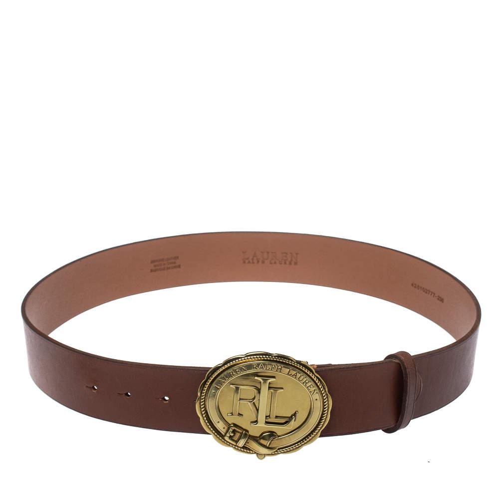 Lauren Ralph Lauren Brown Leather Logo Belt 95CM