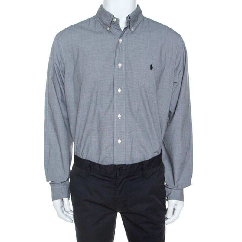 Ralph Lauren Monochrome Micro Check Cotton Button Front Shirt XXL