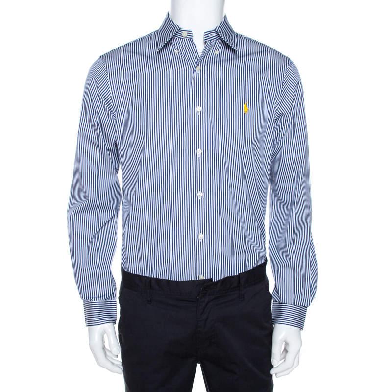 Ralph Lauren Blue & White Striped Cotton Button Down Shirt M