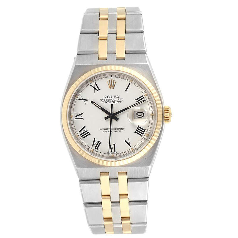 Rolex White 14K Yellow Gold And Stainless Steel Oysterquartz Datejust 17013 Men's Wristwatch 36 MM
