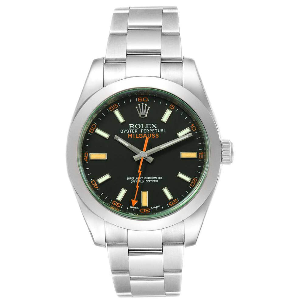 Rolex Black Stainless Steel Milgauss 116400V Men's Wristwatch 40 MM