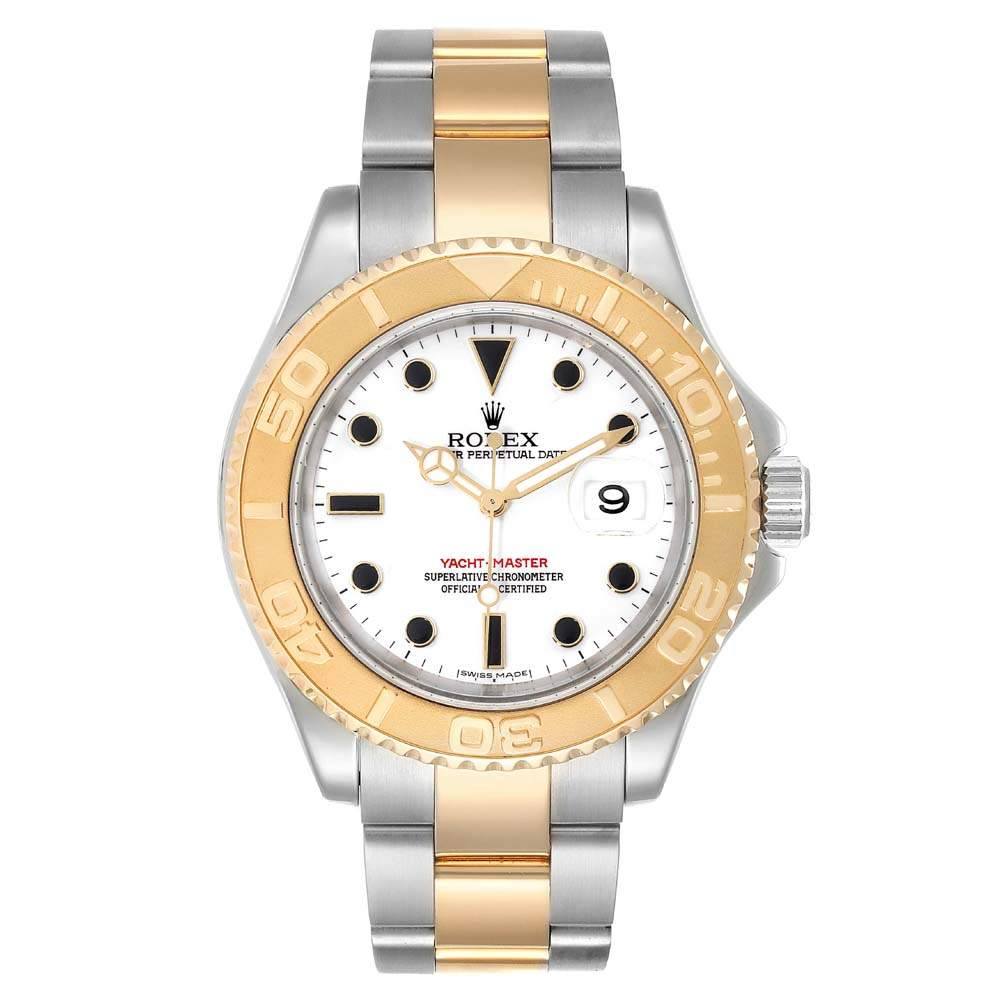 Rolex White 18K Yellow Gold And Stainless Steel Yachtmaster 16623 Men's Wristwatch 40 MM