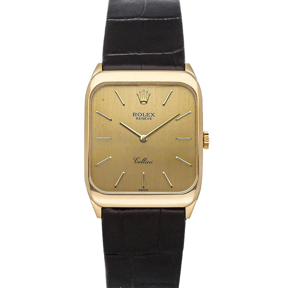 Rolex Champagne 18K Yellow Gold Cellini 4135/8 Men's Wristwatch 27 x 32 MM
