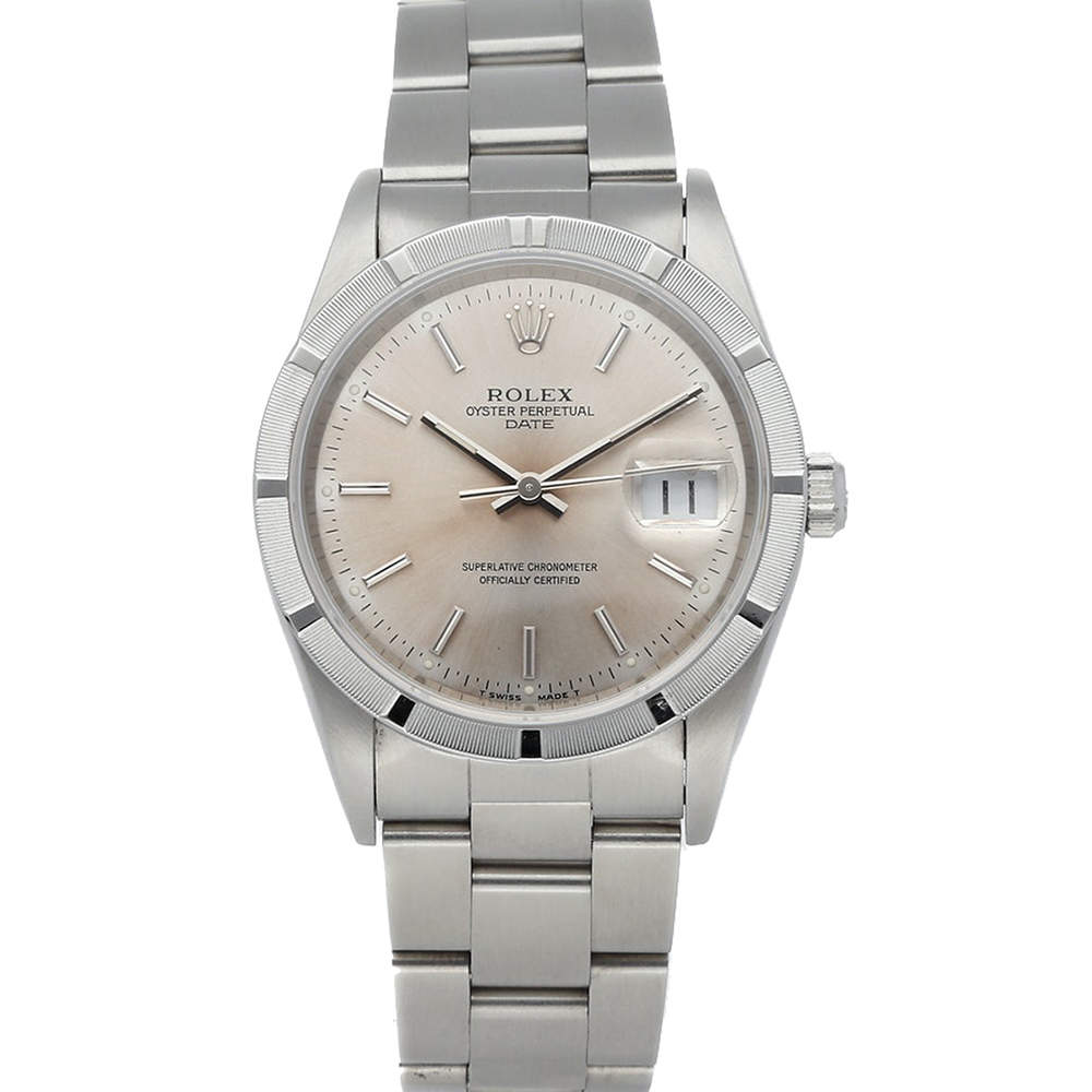 Rolex Silver Stainless Steel Oyster Perpetual Date 15210 Men's Wristwatch 34 MM