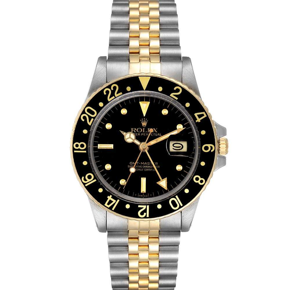 Rolex Black 18k Yellow Gold And Stainless Steel GMT Master 16753 Men's Wristwatch 40 MM