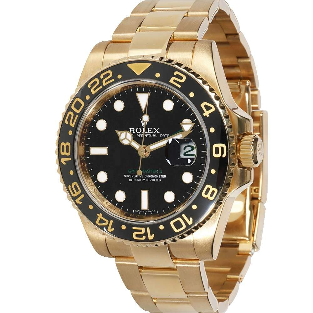 Rolex Black 18K Yellow Gold GMT Master II 116718 Men's Wristwatch 40 MM