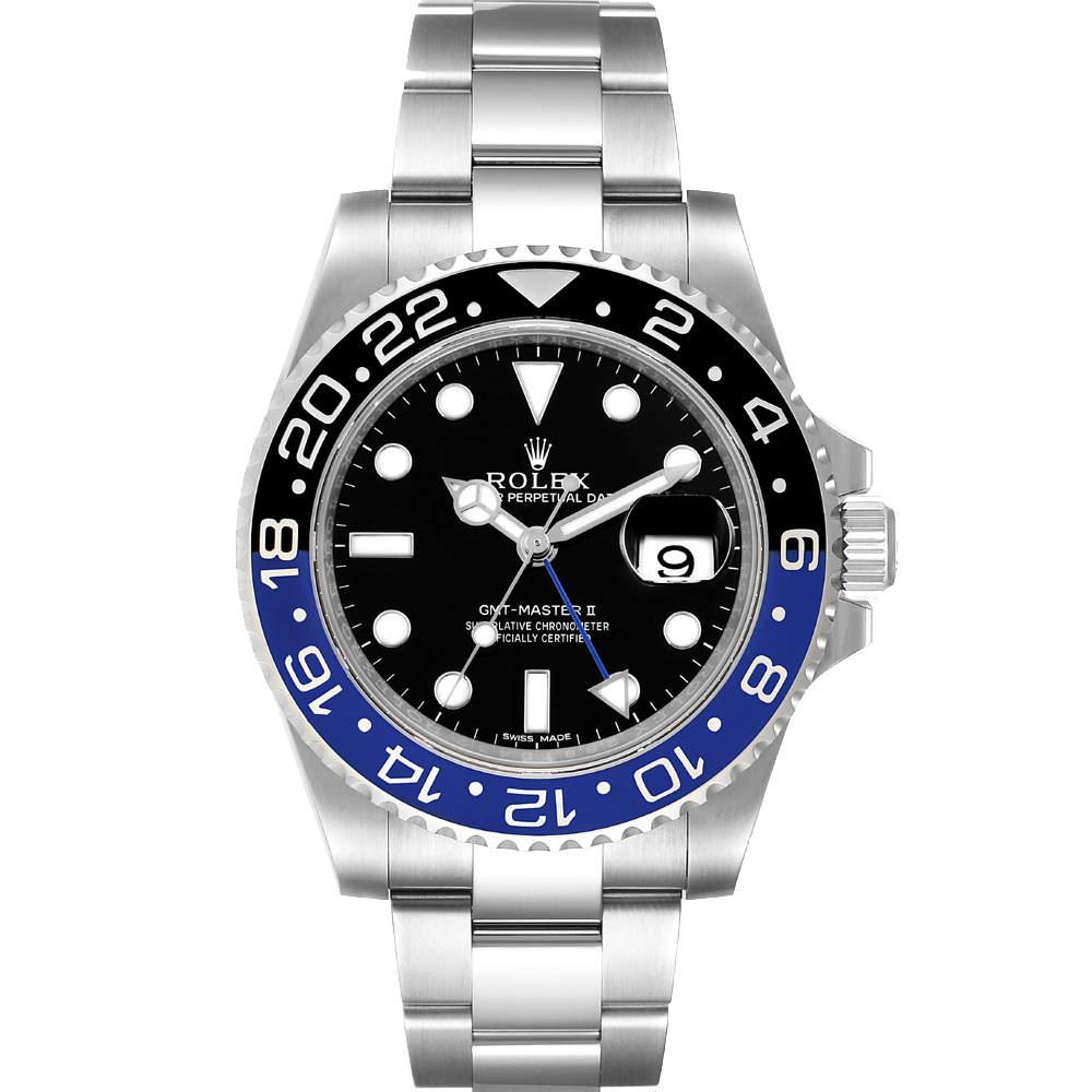 ساعة يد رجالية رولكس جى أم تى ماستر ll باتمان 116710 ستانلس ستيل سوداء  40 مم