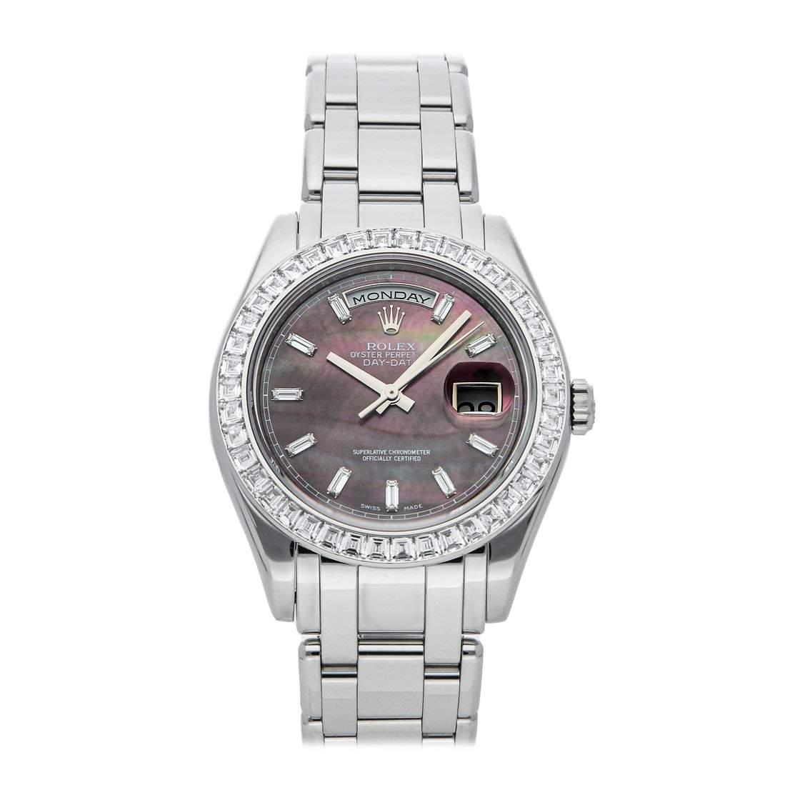 ساعة يد رجالية رولكس داى - ديت 18956BR بلابتنيوم ألماس أم أوه بى أسود 39 مم