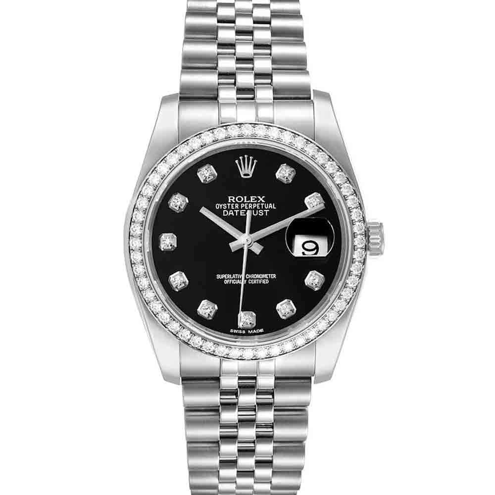 Rolex Black Diamonds Stainless Steel Datejust 116244 Men's Wristwatch 36 MM
