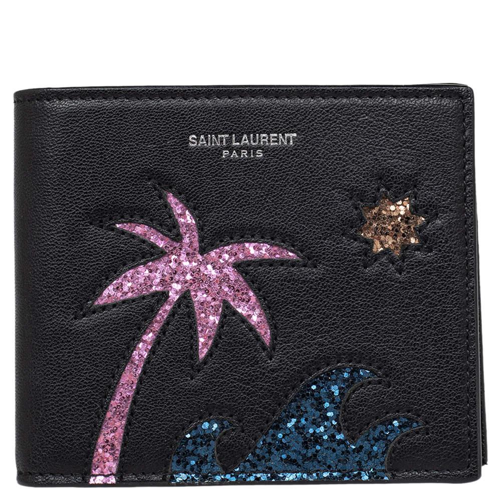 Saint Laurent Black Leather Palm Tree Wallet
