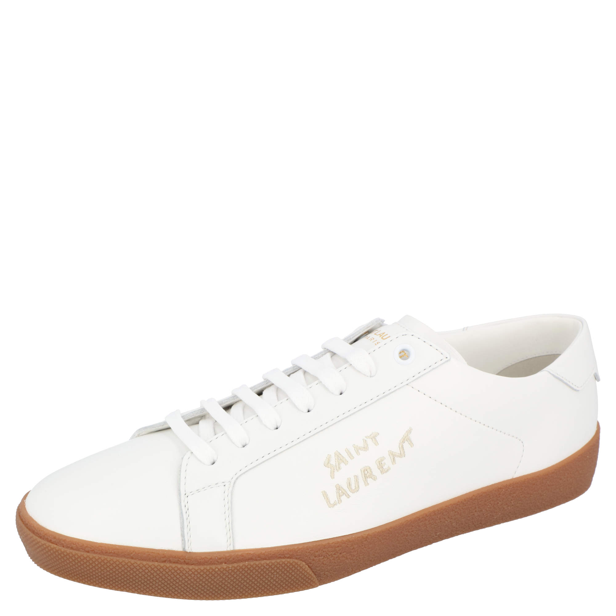 Saint Laurent White Leather SL/06 Embroidered Court Classic Sneakers Size EU 42