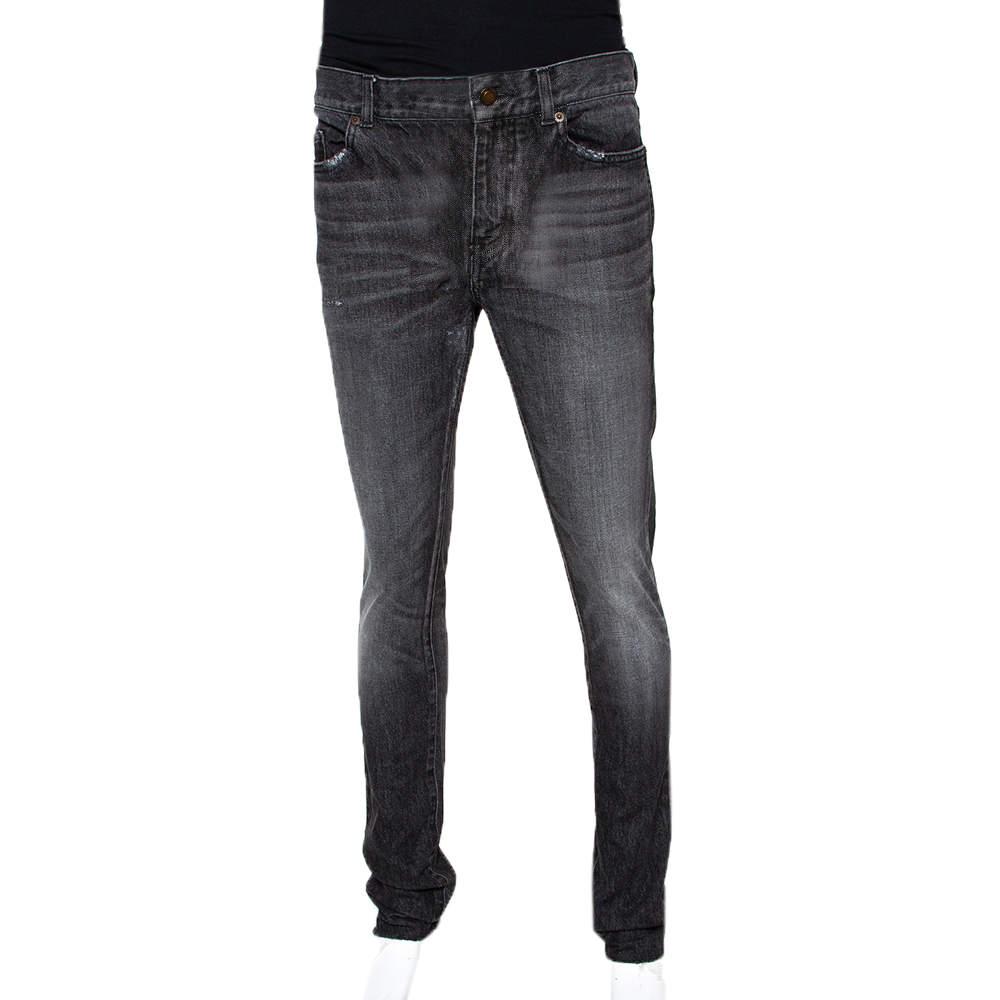 Saint Laurent Paris Charcoal Grey Medium Wash Denim Raw Edge Jeans M