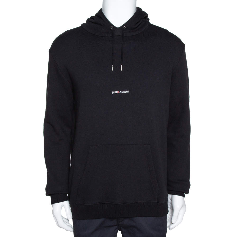 Saint Laurent Black Logo Print Cotton Hooded Sweatshirt L