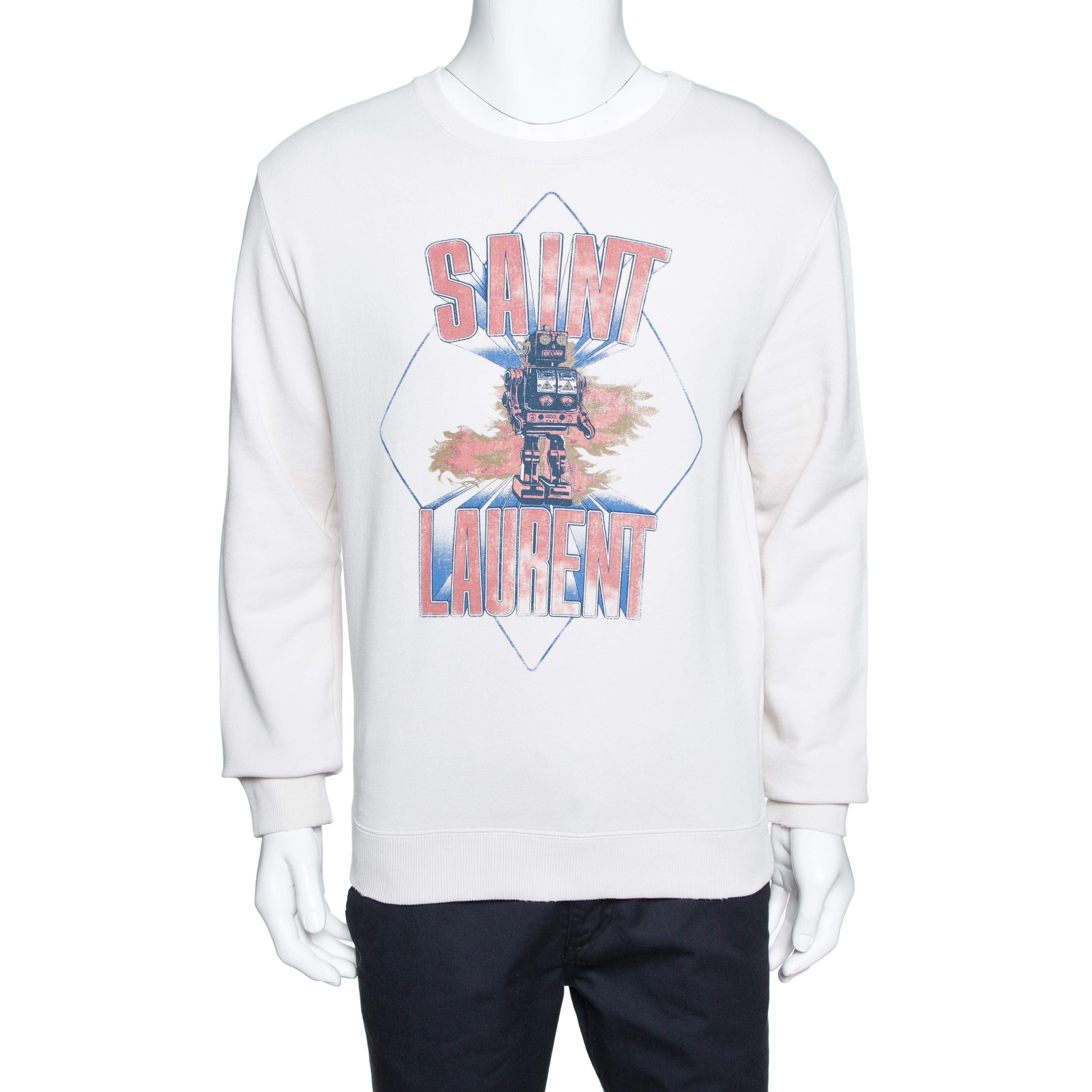Saint Laurent Paris Ecru Robot Aged Print Distressed Sweatshirt S
