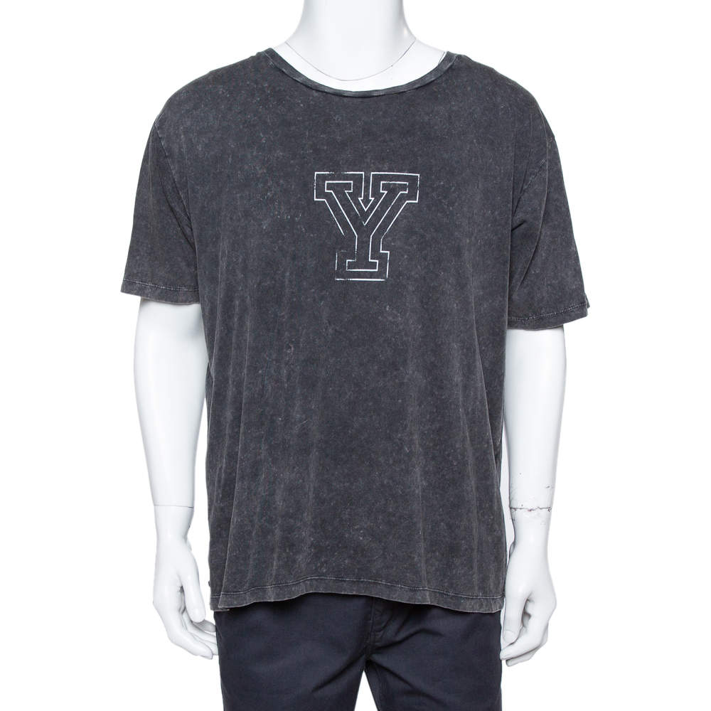 Saint Laurent Paris Black Y Printed Cotton Washed Out Effect T Shirt L