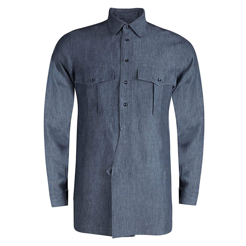 Saint Laurent Paris Grey Checkered Linen Long Sleeve Button Front Shirt S